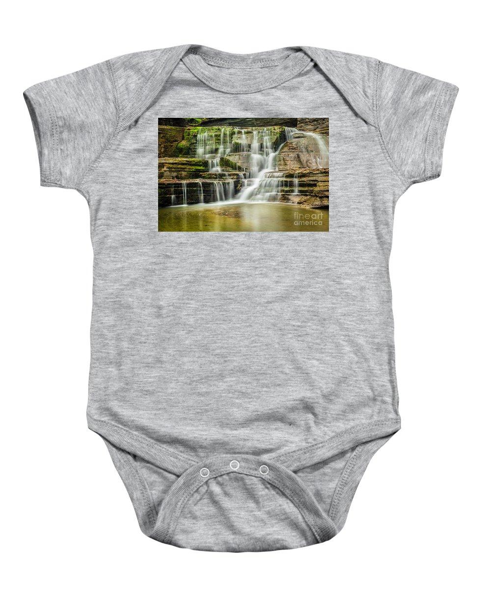 New York Baby Onesie featuring the photograph Mossy Flowing Waterfalls In Enfield Glen by Karen Jorstad