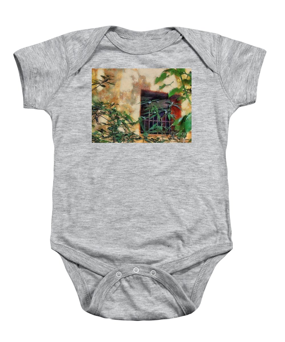 Moss Baby Onesie featuring the painting Mossy Wall by Paulette B Wright