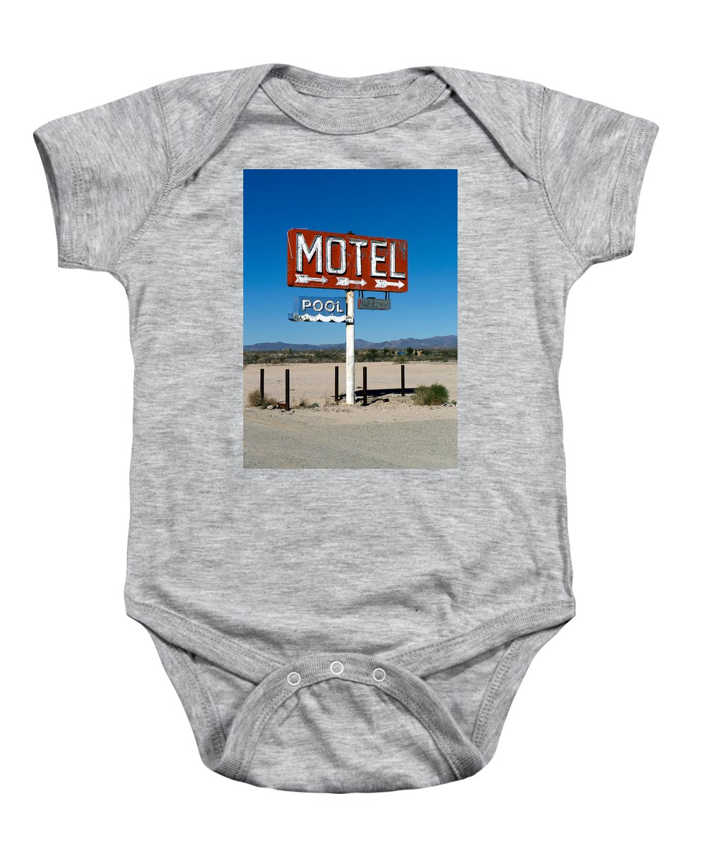 Route 66 Baby Onesie featuring the photograph Motel Sign On I-40 And Old Route 66 by Scott Sawyer