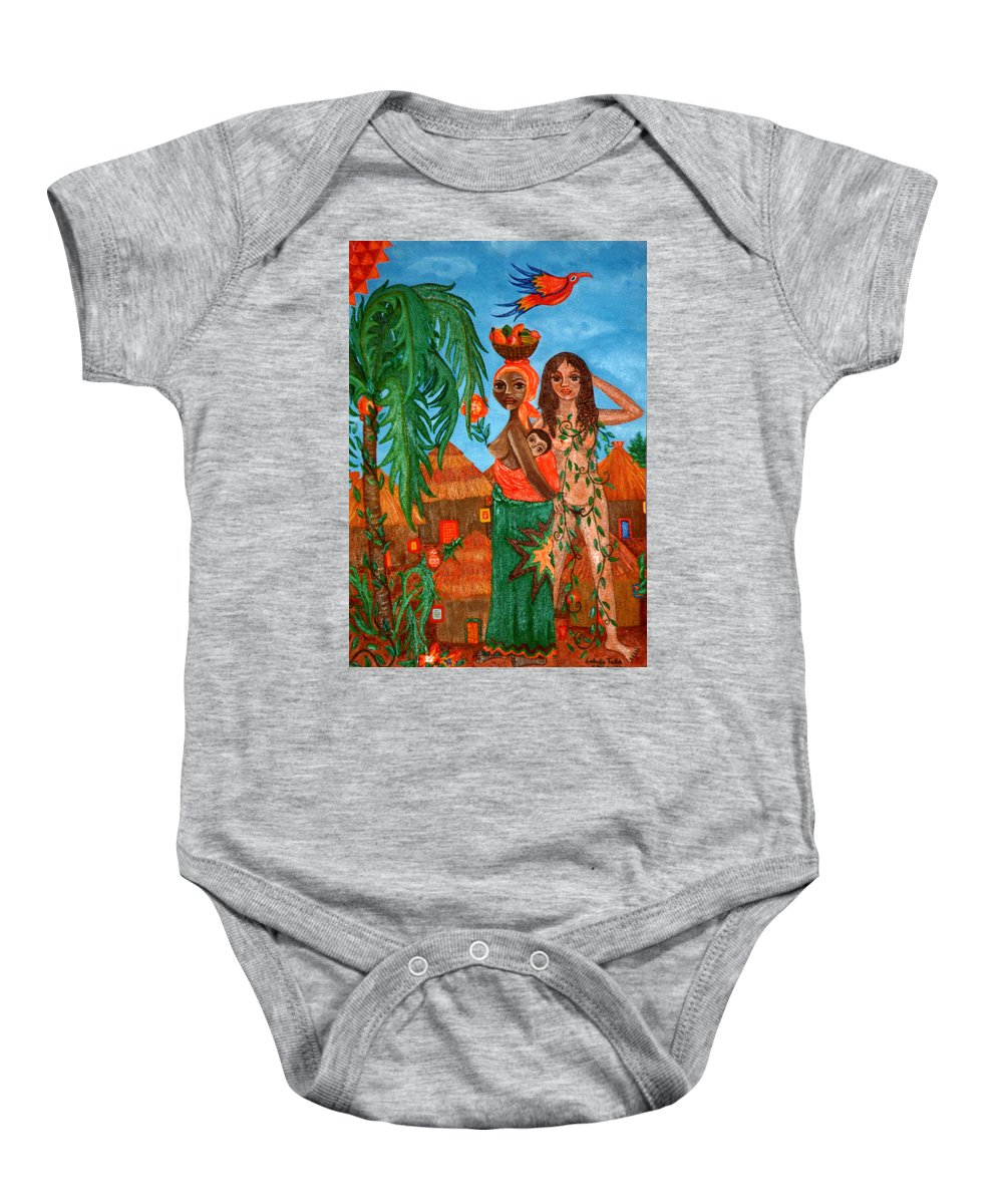 Mother Baby Onesie featuring the painting Mother Black Mother White by Madalena Lobao-Tello