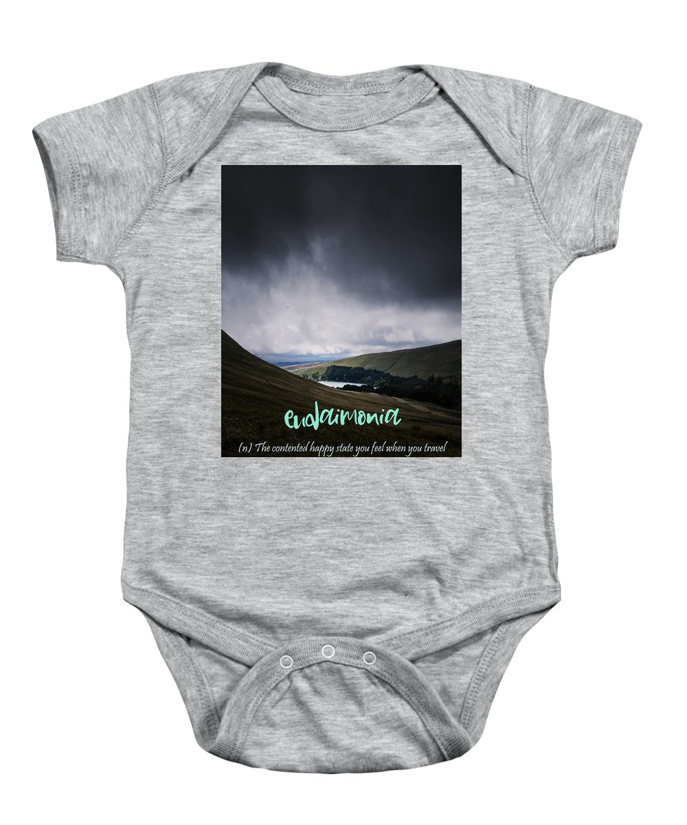 Motivational Baby Onesie featuring the painting Motivational Travel Poster - Eudaimonia by Celestial Images