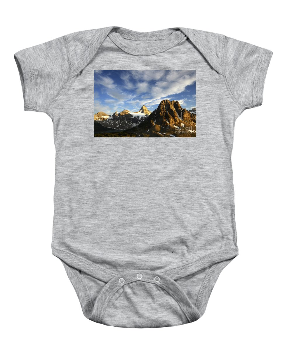 Mount Assiniboine Baby Onesie featuring the photograph Mount Assiniboine Canada 14 by Bob Christopher