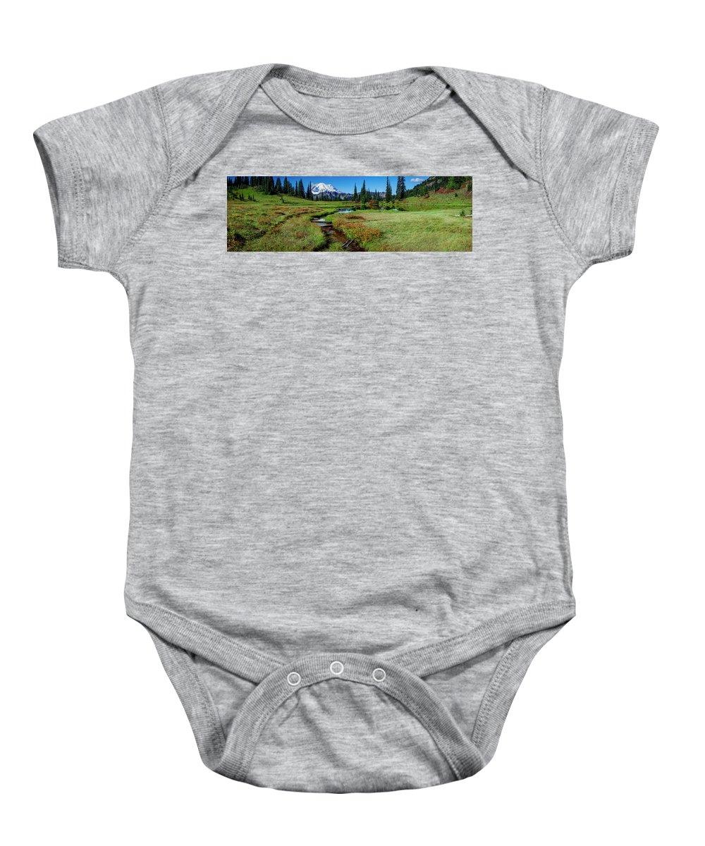 Mount Rainier Baby Onesie featuring the photograph Mount Rainier- Upper Tipsoo Lake by Michael Sedam