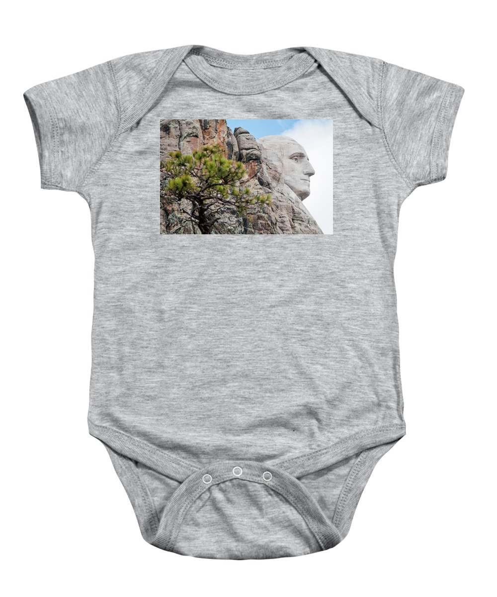 Mount Rushmore National Memorial Baby Onesie featuring the photograph Mount Rushmore George Washington Landscape by Kyle Hanson
