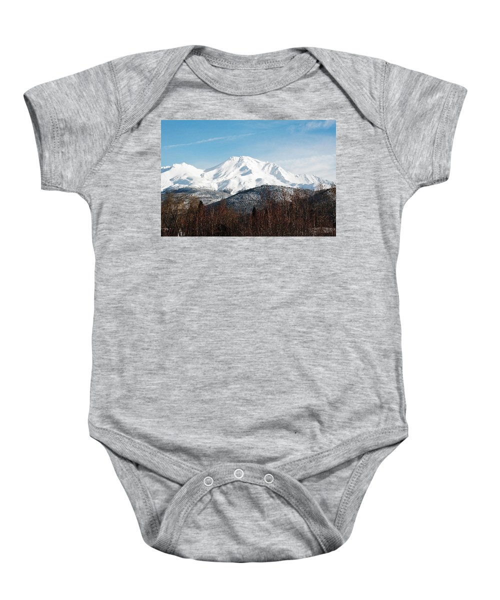Mount Shasta Baby Onesie featuring the photograph Mount Shasta by Anthony Jones