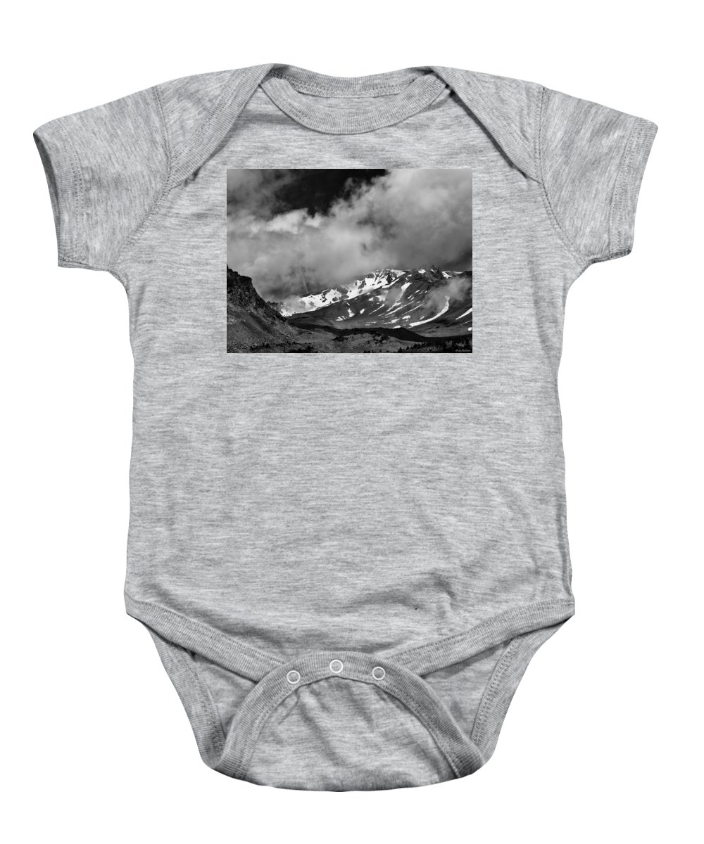 Mount Baby Onesie featuring the photograph Mount Shasta In Black And White by Alexander Fedin