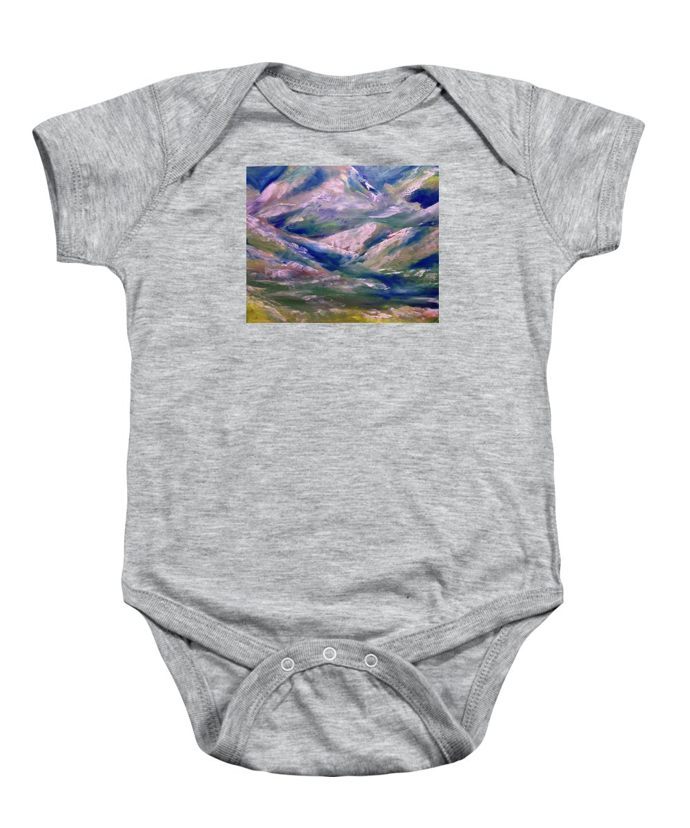 Glacier Baby Onesie featuring the painting Mountain Gorge Italian Alps by Patricia Taylor