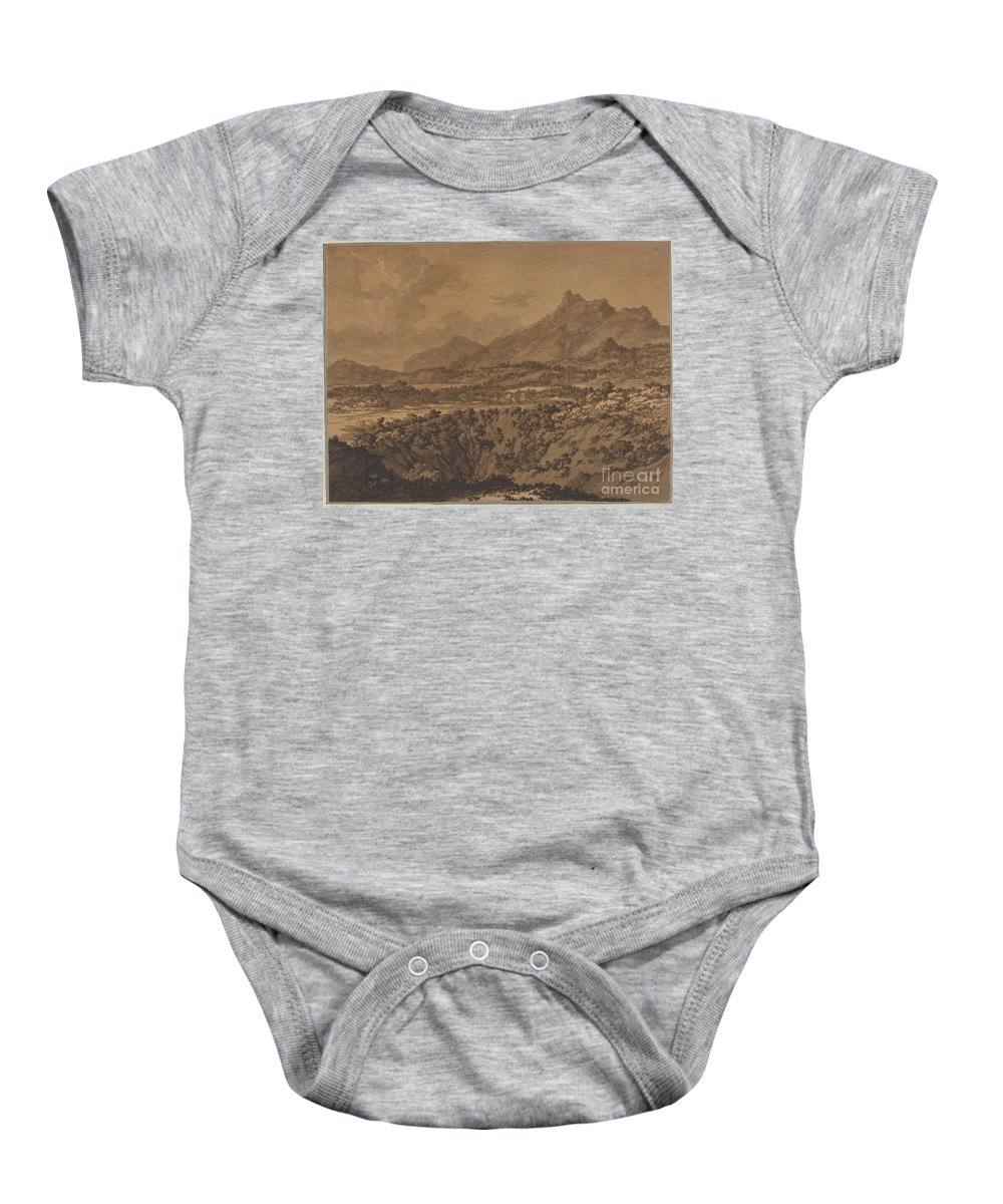 Baby Onesie featuring the drawing Mountain Landscape With A Hollow by Alexander Cozens