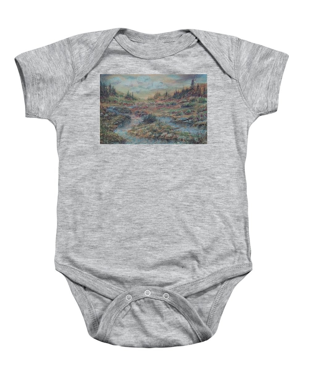 Landscape Baby Onesie featuring the painting Mountain Meadow by Jacqueline Biggs