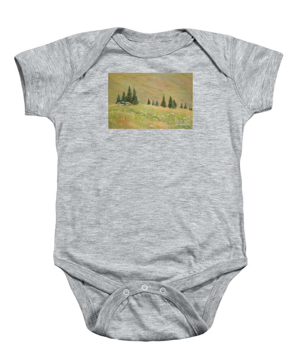 Landscape Baby Onesie featuring the painting Mountain Meadow by Lynn Quinn