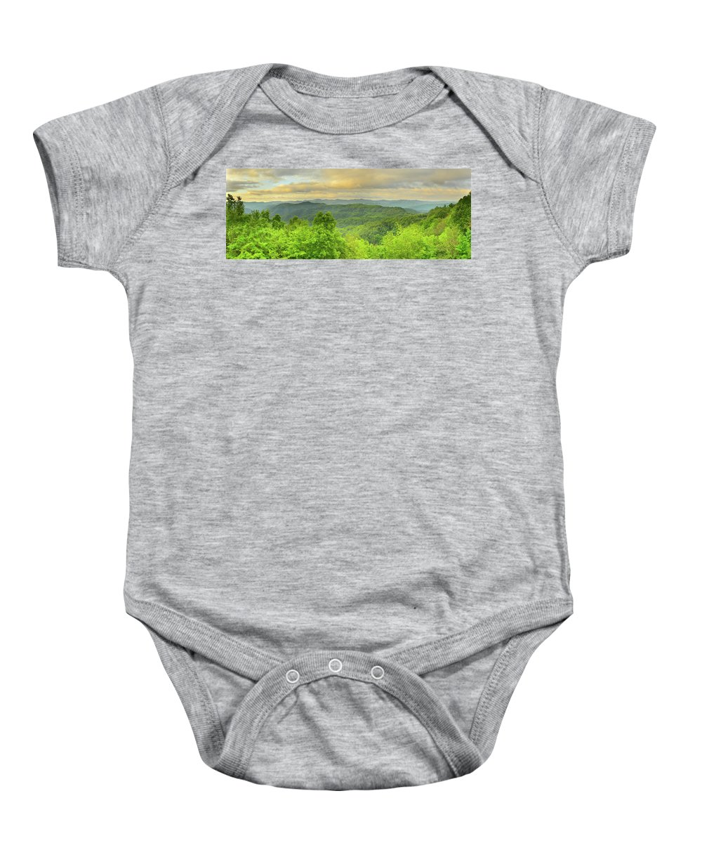 Mountains Baby Onesie featuring the photograph Mountain Scene by Thurston Connard