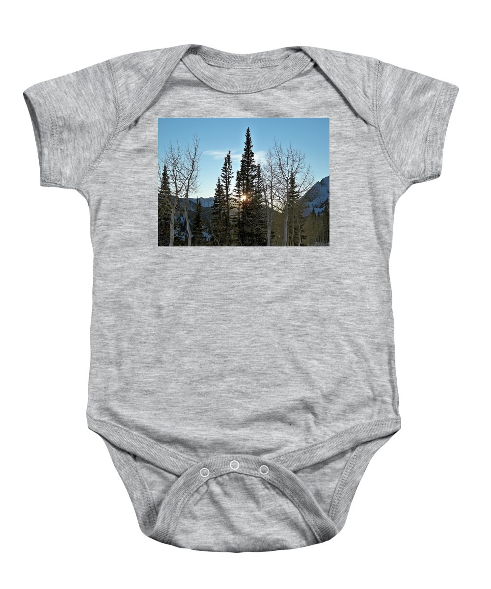 Rural Baby Onesie featuring the photograph Mountain Sunset by Michael Cuozzo