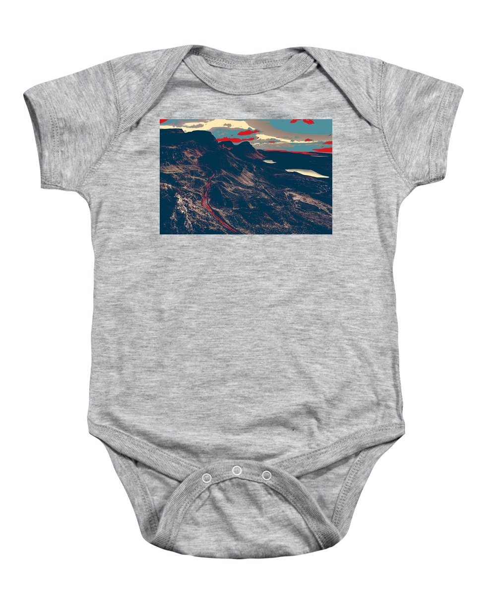 Nature Baby Onesie featuring the painting Mountains By Red Road by Celestial Images