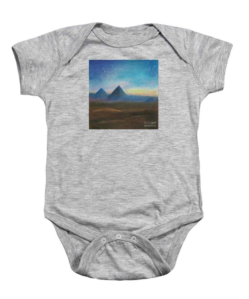 Brown Baby Onesie featuring the painting Mountains Of The Desert I by Iris M Gross