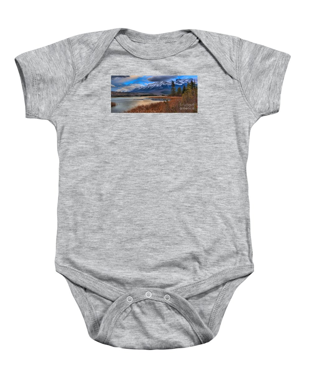 Talbot Lake Baby Onesie featuring the photograph Mountains Over Talbot by Adam Jewell