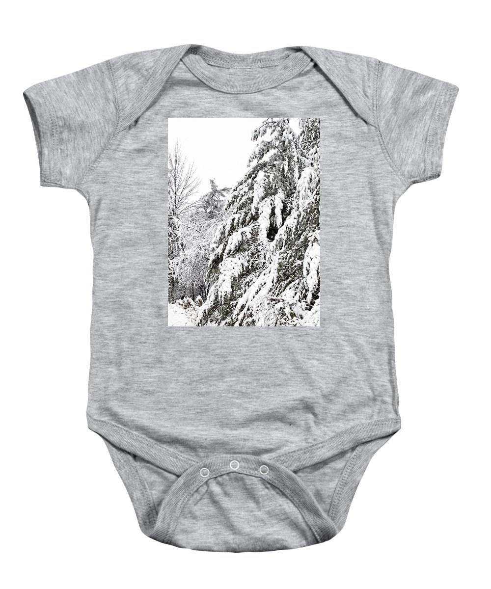 Snow Baby Onesie featuring the photograph Mourn The Winter by JGracey Stinson