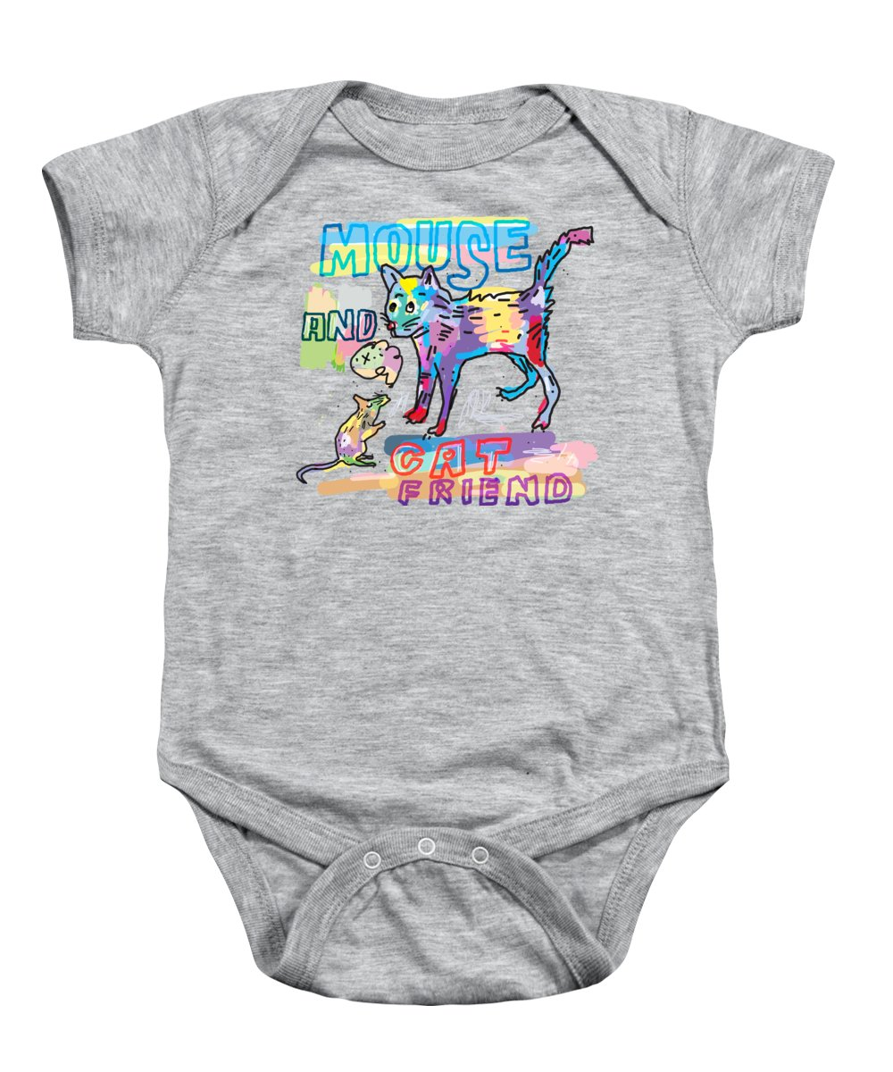 Animal Baby Onesie featuring the digital art Mouse And Cat Friend by Martinus Sumbaji
