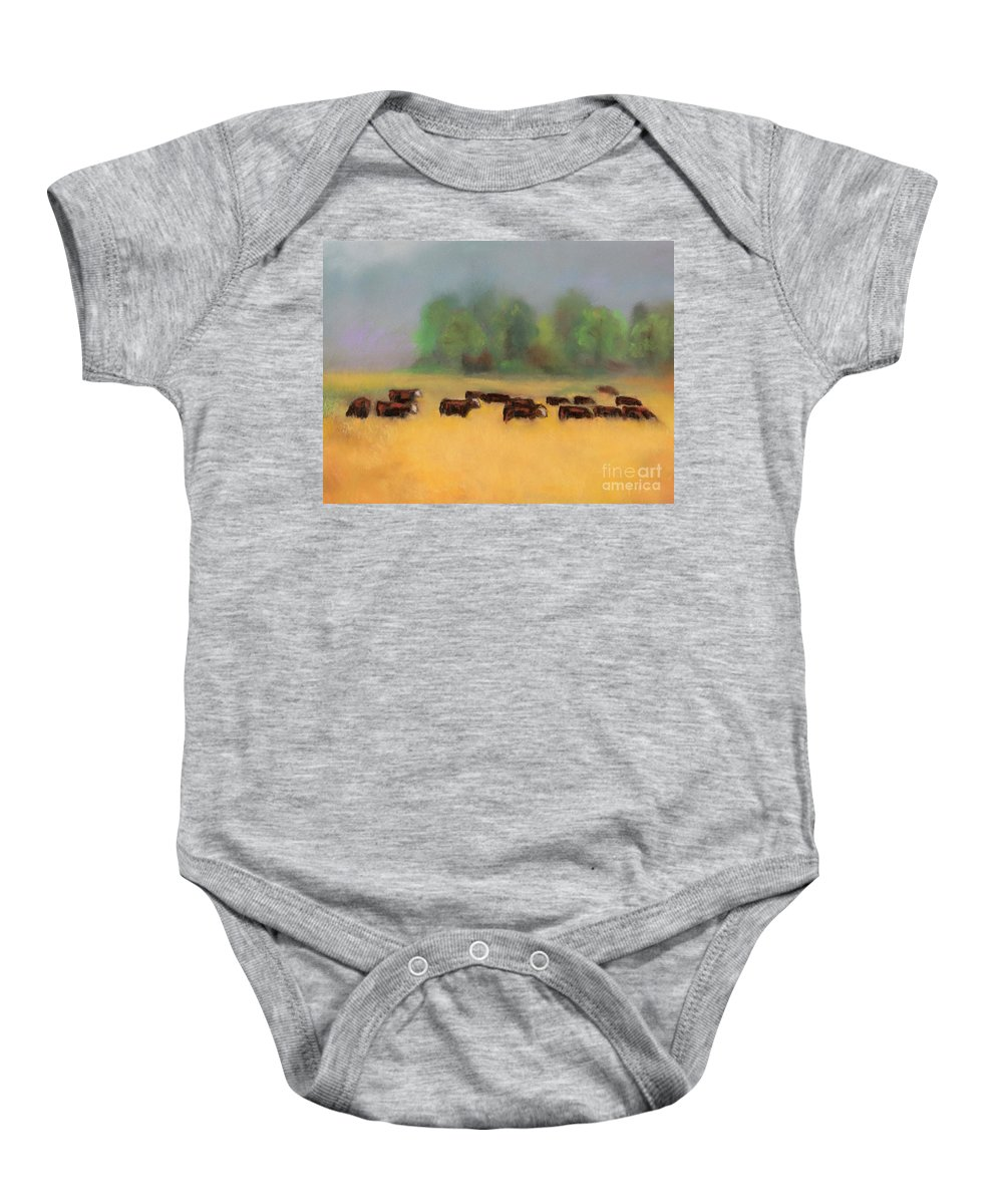 Cattle Baby Onesie featuring the painting Moving On by Frances Marino