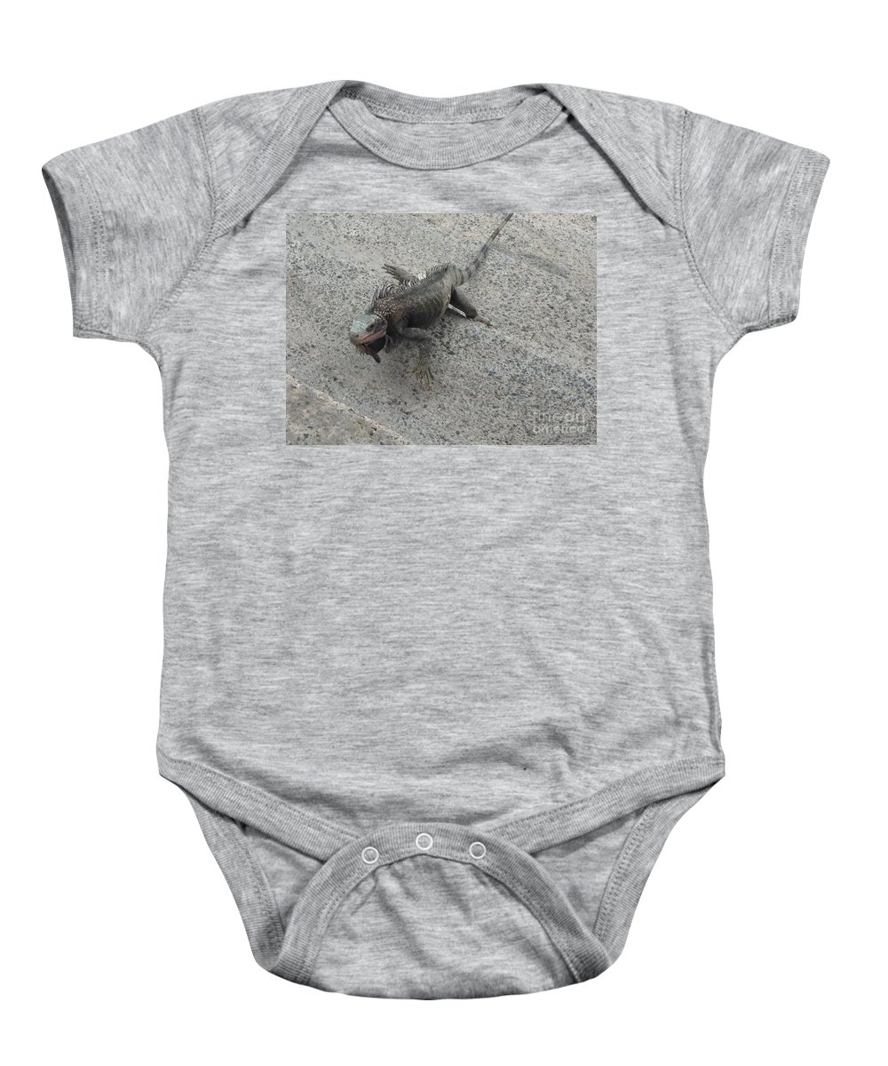 Iguana Baby Onesie featuring the photograph Moving Right Along by Gina Sullivan