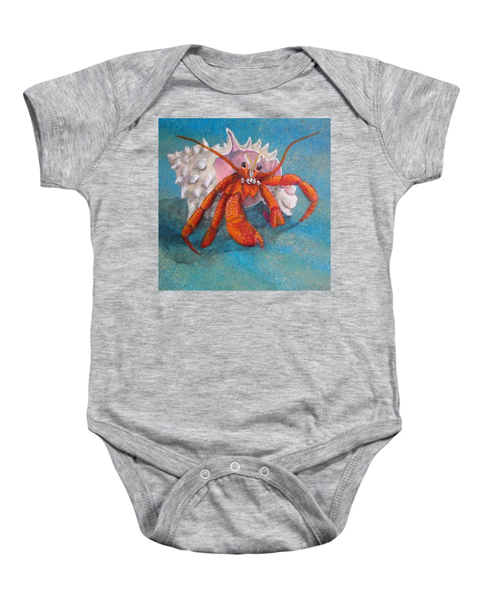 Hermit Baby Onesie featuring the painting Mr. Crab by Cindy D Chinn