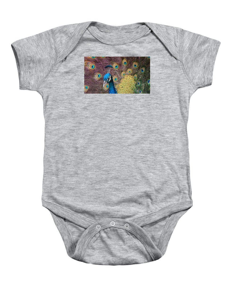 Peacock Baby Onesie featuring the photograph Mr. Twinkletoes by Nancy Cavallin
