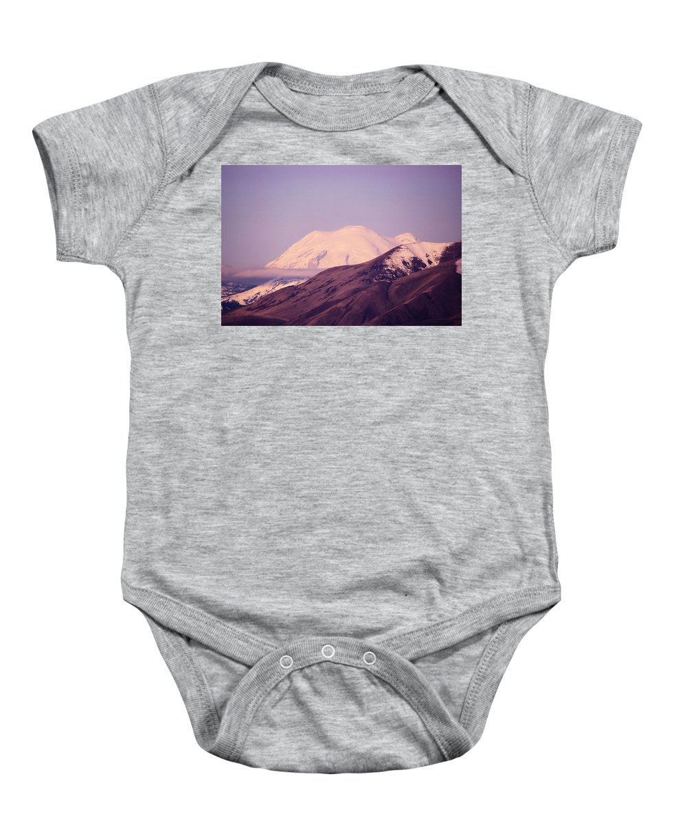 Wenas Valley Baby Onesie featuring the photograph Mt Rainer From The Wenas Valley by Jeff Swan