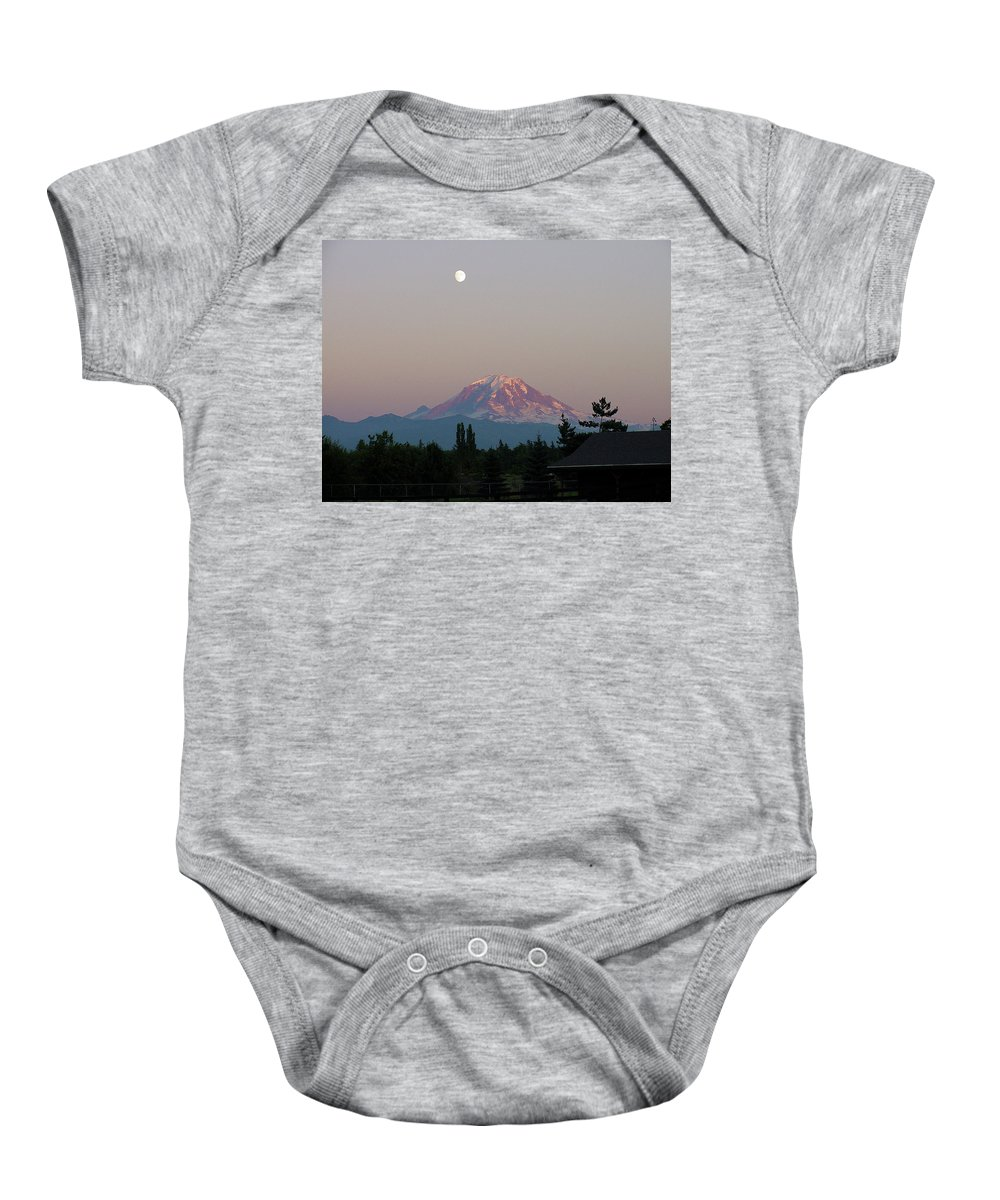 August Baby Onesie featuring the photograph Mt Rainier August Moon by Shirley Heyn