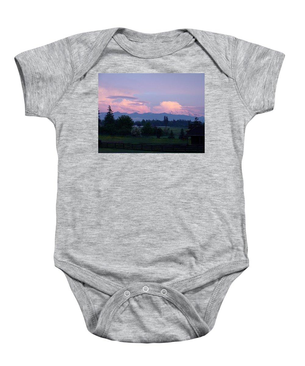 Mt. Rainier Baby Onesie featuring the photograph Mt Rainier Blush by Shirley Heyn