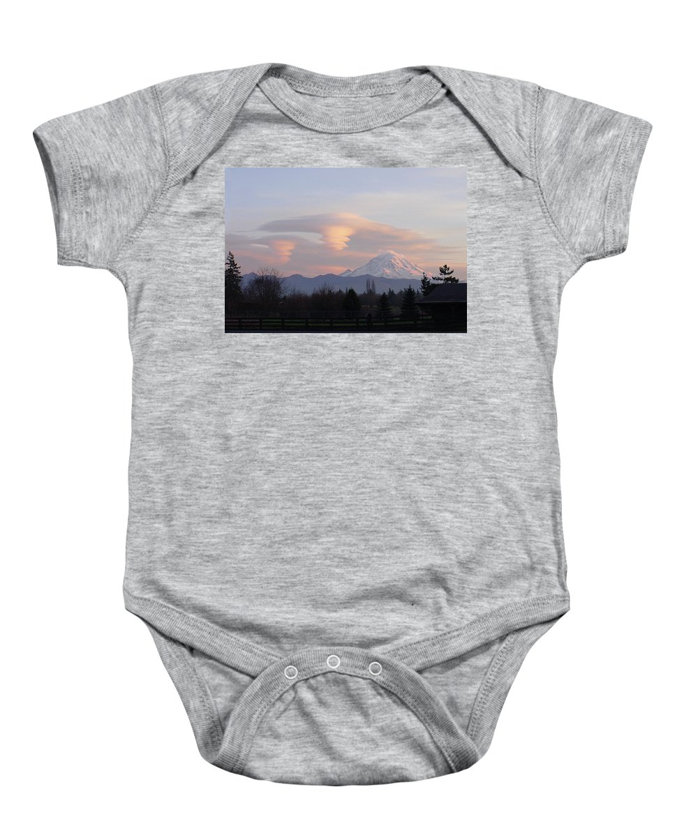 Mountain Baby Onesie featuring the photograph Mt Rainier Lenticular Funnels by Shirley Heyn