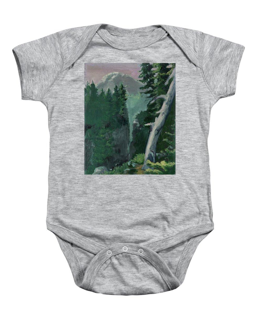 Mt Ranier Baby Onesie featuring the painting Mt Ranier by Craig Newland