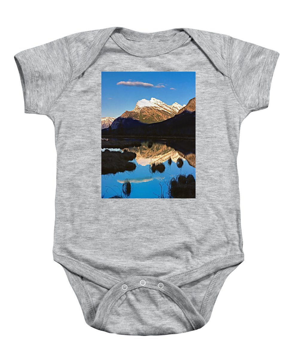 Mountains Baby Onesie featuring the photograph Mt Rundle by Steve Harrington