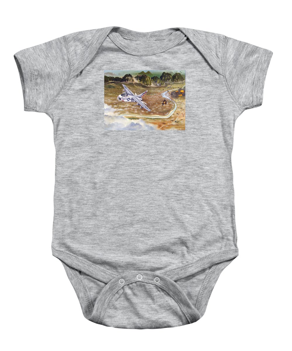 Aviation Baby Onesie featuring the painting Mu Gia Mayhem by Marc Stewart