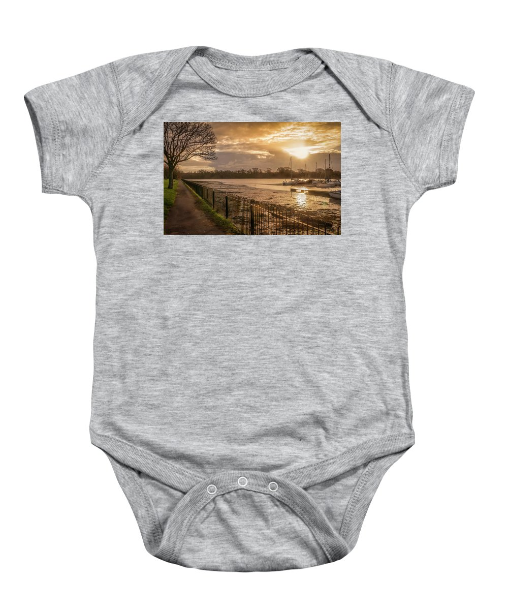Background Baby Onesie featuring the photograph Muddy Creek At Fareham, Hampshire, England by Peter Hayward Photographer