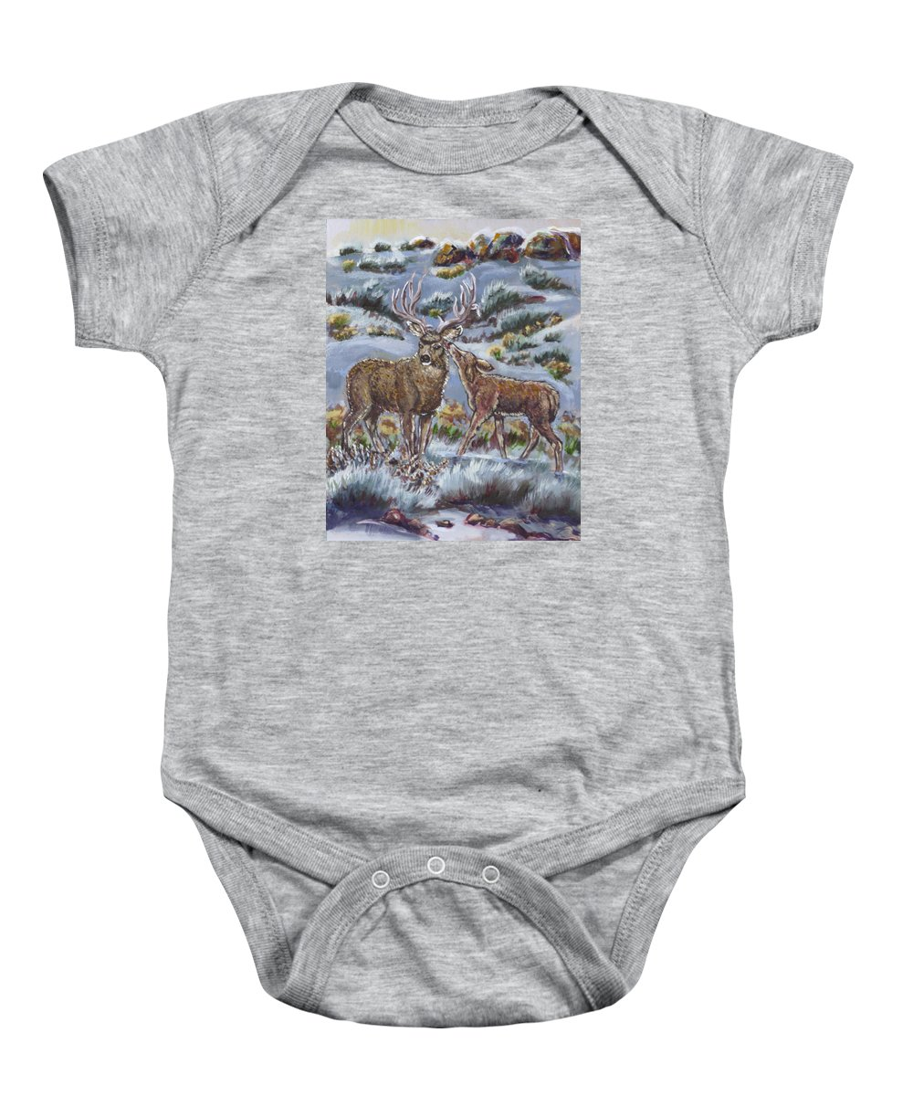 Animals Baby Onesie featuring the painting Mule Deer Lovers From River Mural by Dawn Senior-Trask
