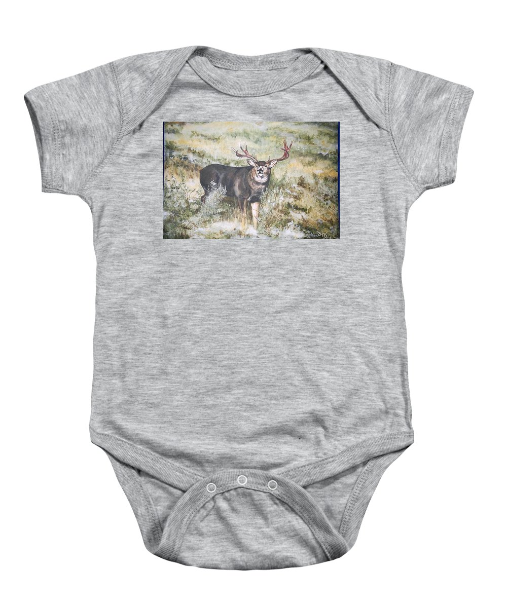 Mule Deer Baby Onesie featuring the painting Muley by Debra Sandstrom