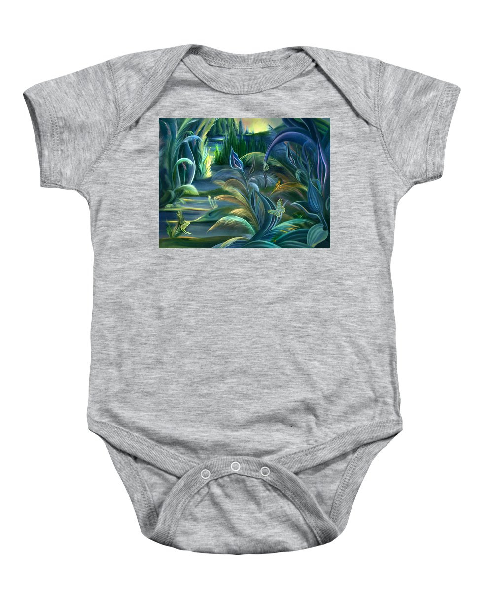 Mural Baby Onesie featuring the painting Mural Insects Of Enchanted Stream by Nancy Griswold