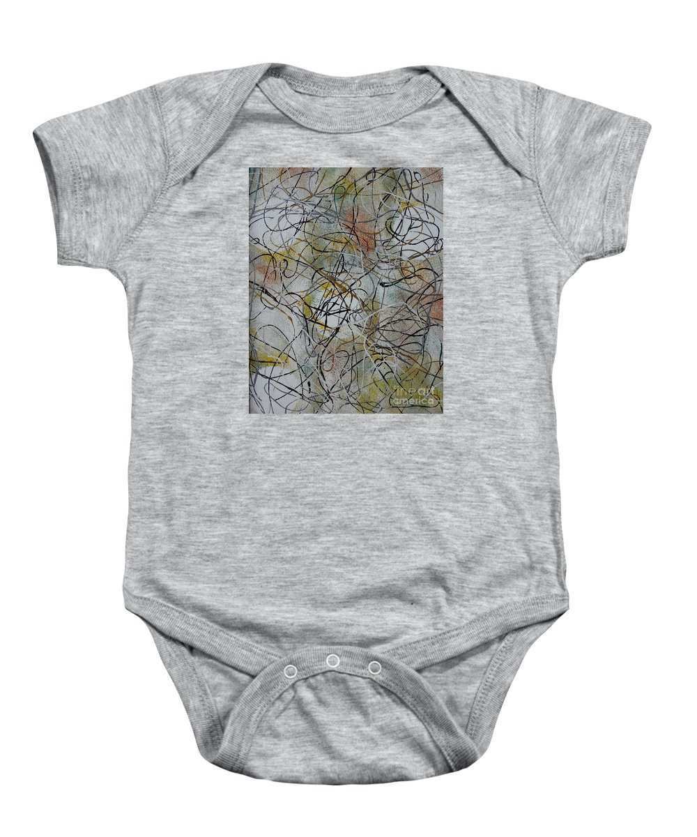 Abstract Baby Onesie featuring the painting Music by Jacqueline Athmann