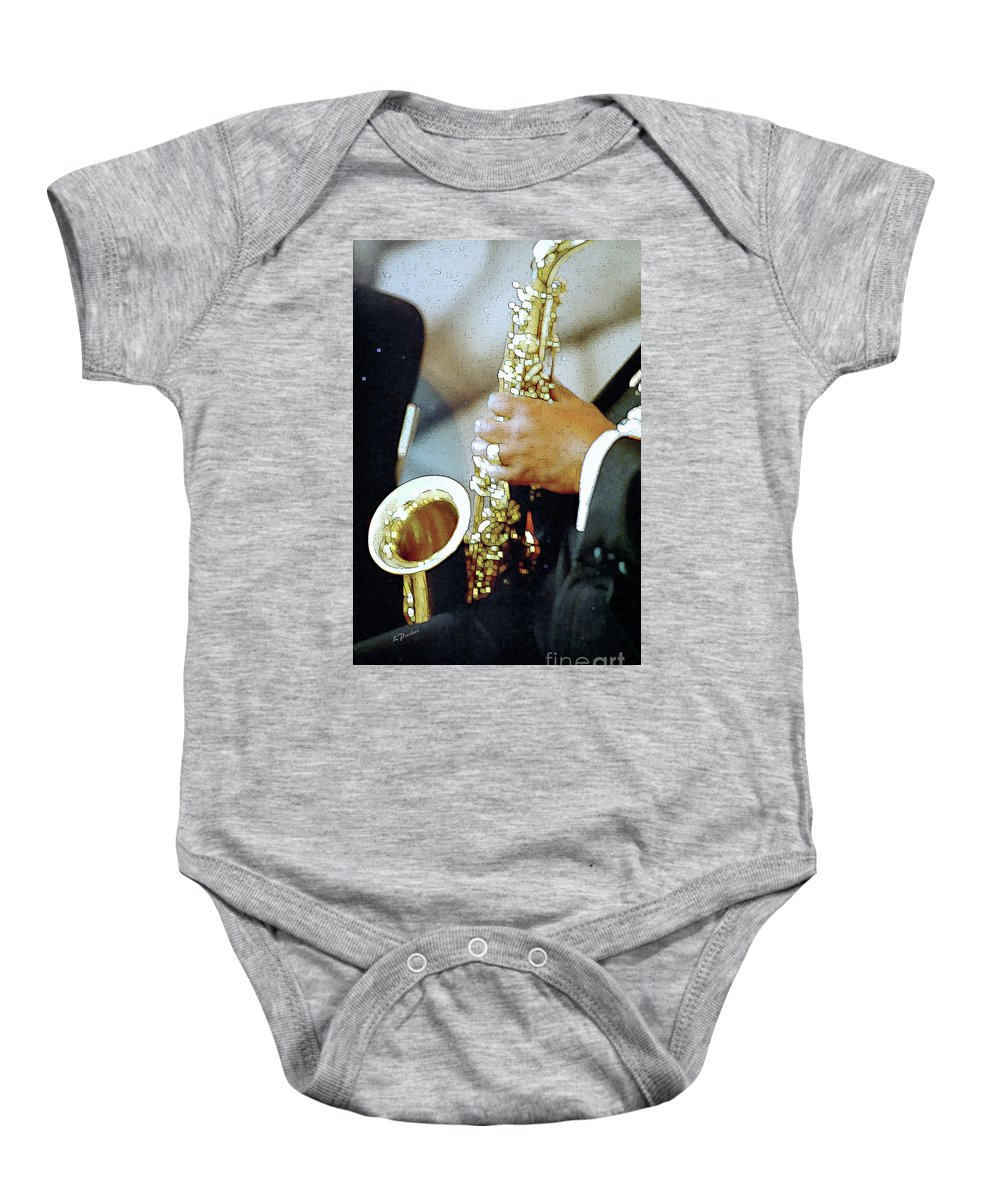Abstract Baby Onesie featuring the photograph Music Man Saxophone 1 by Linda Parker