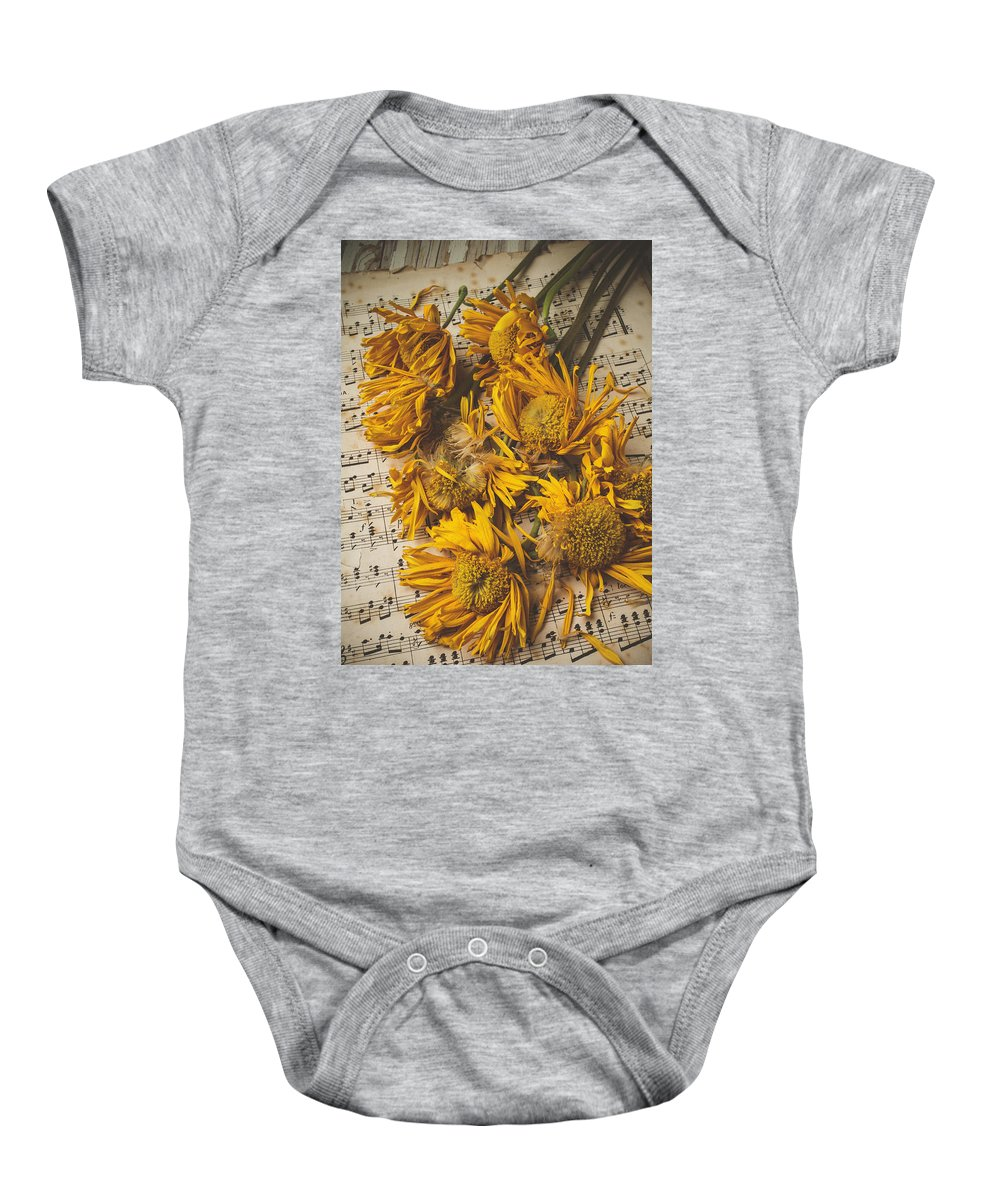 Weathered Sunflowers Baby Onesie featuring the photograph Musical Sunflowers by Garry Gay
