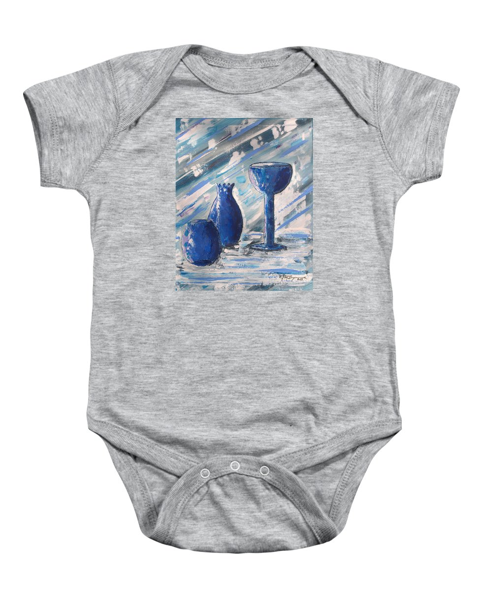 Vases Baby Onesie featuring the painting My Blue Vases by J R Seymour