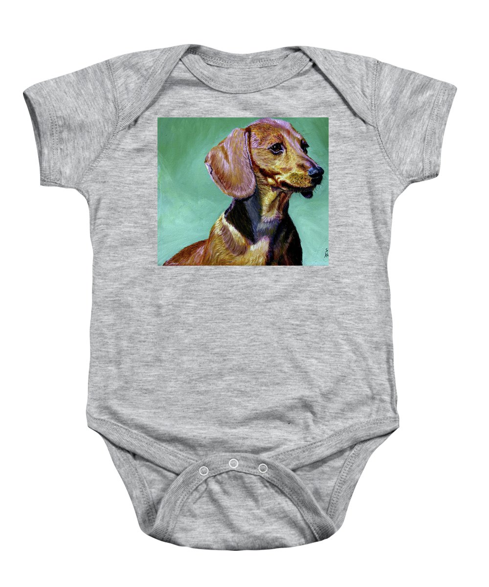 Daschund Baby Onesie featuring the painting My Daschund by Stan Hamilton