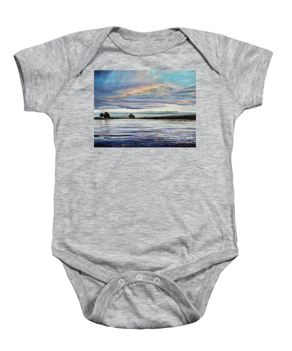 Landscape Baby Onesie featuring the painting My First Sunset by Elizabeth Robinette Tyndall