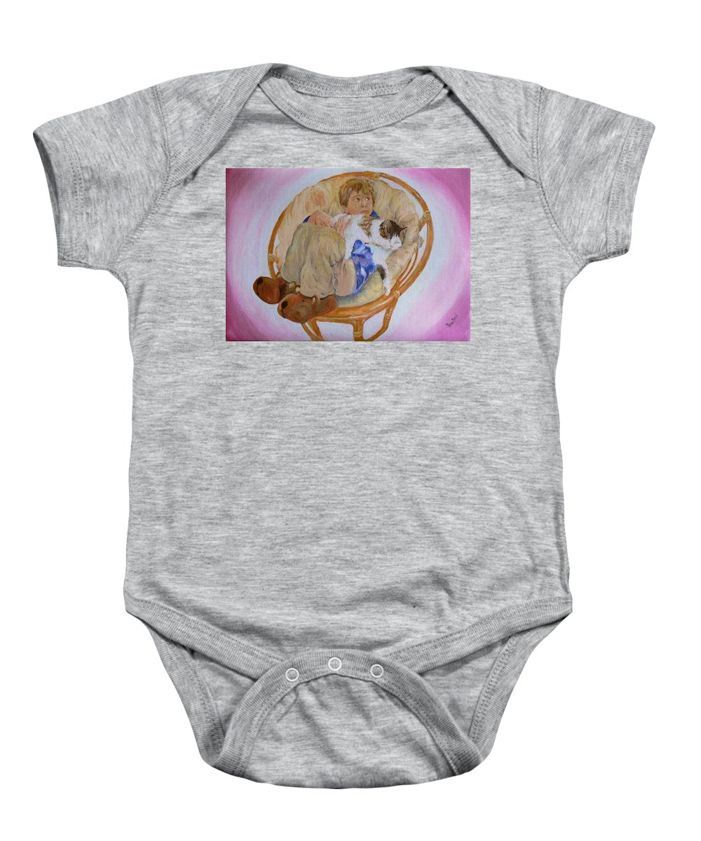 Portrait Baby Onesie featuring the painting my grandson Pascal with his cat Paul by Helmut Rottler