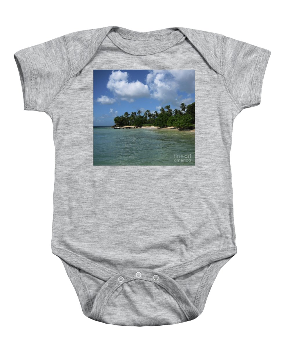 Beach Baby Onesie featuring the photograph My Happy Place by Lori Tambakis