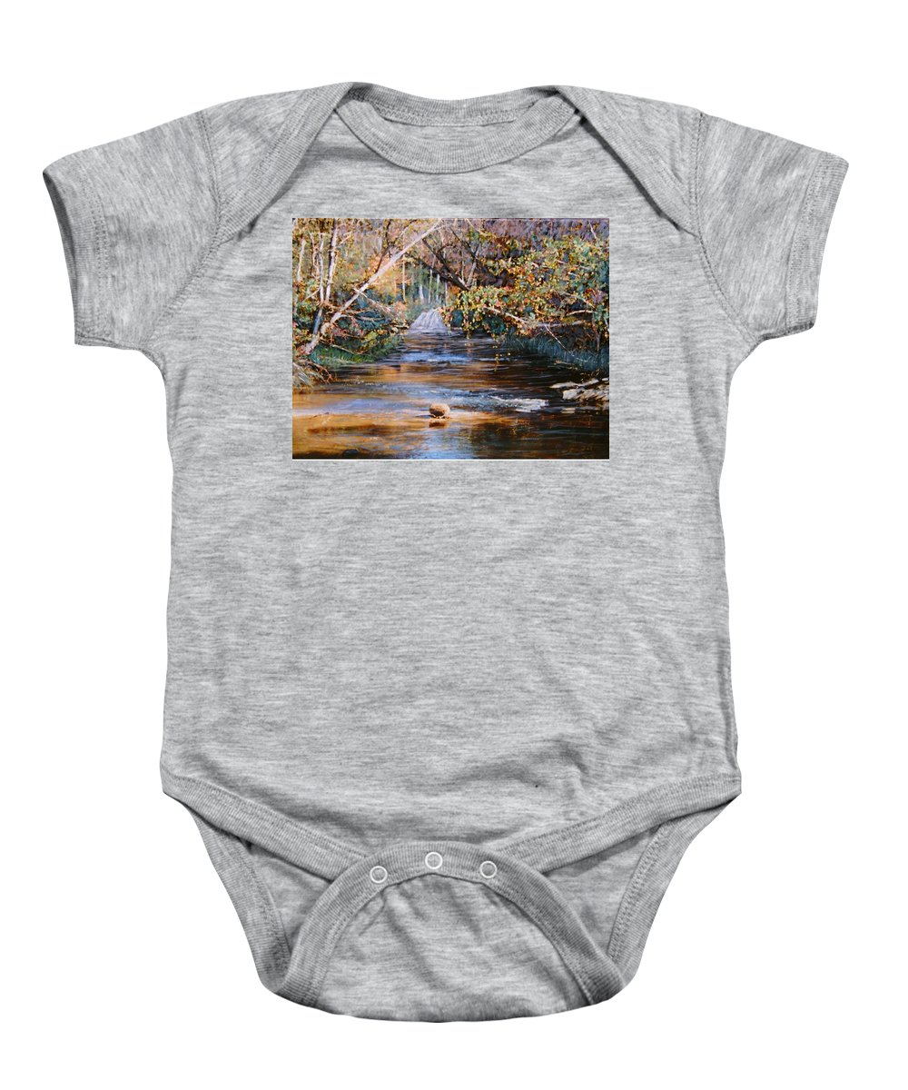 Peace Project Baby Onesie featuring the painting My Secret Place by Ben Kiger