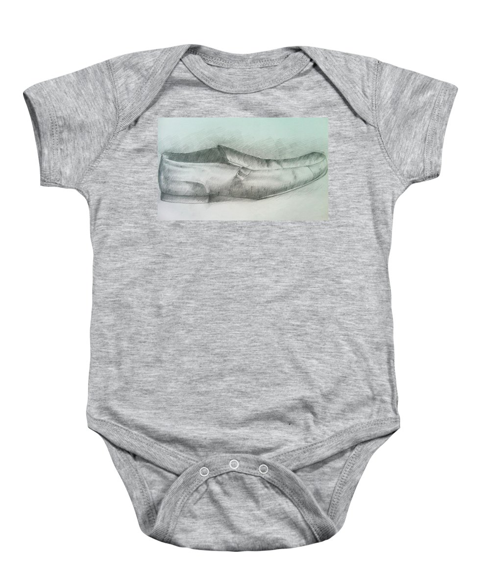 Drawings Baby Onesie featuring the drawing My Shoe by Olaoluwa Smith