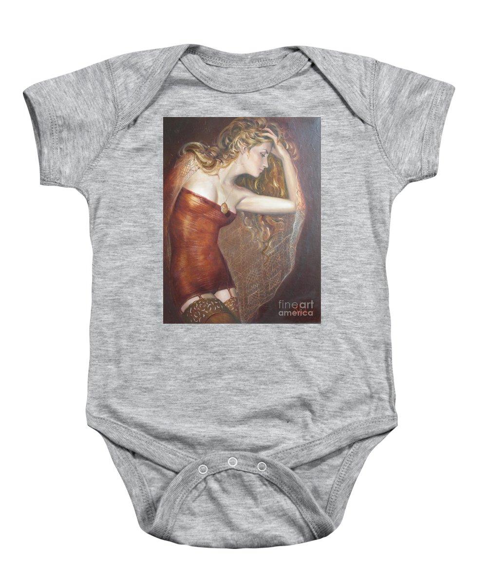 Ignatenko Baby Onesie featuring the painting My Talisman by Sergey Ignatenko