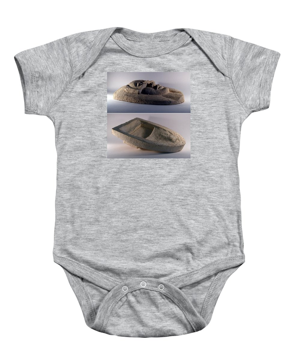 Ceramic Relief Baby Onesie featuring the relief My Veils II by Madalena Lobao-Tello