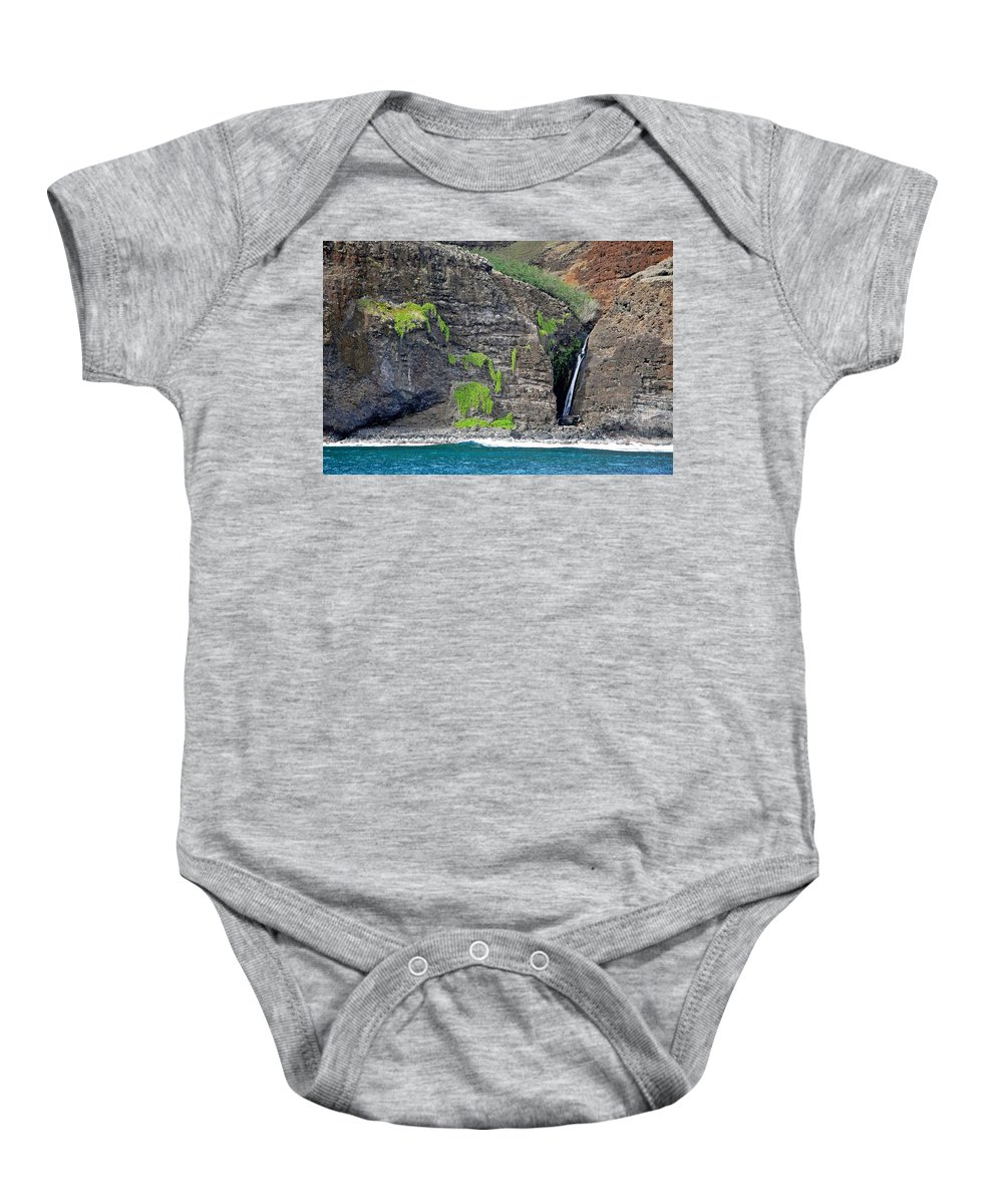 Na Pali Coast Baby Onesie featuring the photograph Na Pali Waterfall by Robert Meyers-Lussier