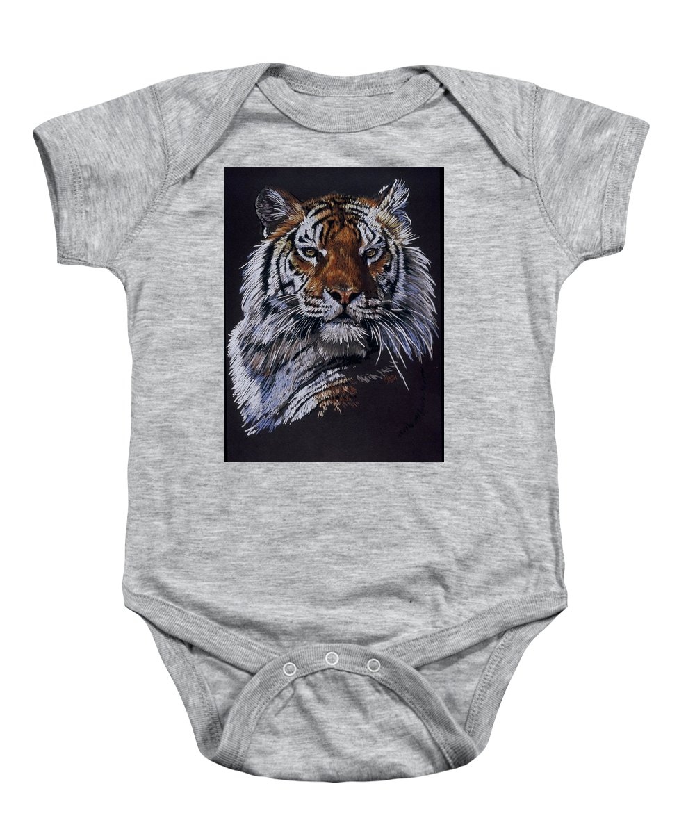 Tiger Baby Onesie featuring the drawing Nakita by Barbara Keith